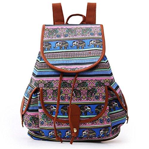 Kword Donna Vintage Canvas Backpack Zaino Cartella Da Scuola Viaggio Modacanvas Zaino Per Le Donne Ragazze Ragazzi Casual Book Bag Sport Pack Giorno C