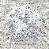 Bastelset zum Dekorieren von Karten, Set mit 80Stück Flatbacks mit Winter-/Weihnachts-Motiven, Shabby Chic, aus Resin, flache Rückseite, kreatives Gestalten