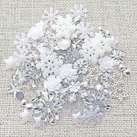 80 Winter/Christmas Mix Silver/White Shabby Chic Resin Flatbacks Craft Cardmaking Embellishments