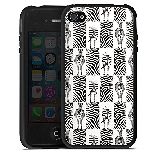 DeinDesign Silikon Hülle kompatibel mit Apple iPhone 4 Case Schutzhülle Zebra Animal Print Pattern