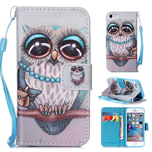 MOONCASE IPhone 5 / 5S / iPhone SE Étui, [Dreamchaser] Dessin Motif Bookstyle PU Cuir Flip Housse Etui à rabat Portefeuille TPU Case Cover avec Strap Lanière pouriPhone 5G / 5S / SE Owl