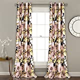 "Lush Decor Floral Watercolor Room Darkening Window Curtain Panel Pair, Navy, 84"" x"