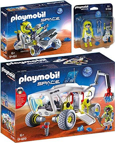 PLAYMOBIL® Space 3er Set 9489 9491 9492 Mars-Erkundungsfahrzeug + Trike + Astronaut und Roboter
