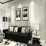 QIHANG de alto grado que se reúne damasco del Victorian / grabado en relieve del papel pintado del rollo de plata gris color 0.53m*10 m = 5.3㎡