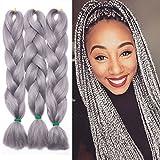 Haarverlängerung 60cm Crochet Braids Two Tone Ombre Braiding Haar Synthetik Braid 3 Pcs /300g - Grau