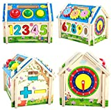 FSOSOO House Wooden Number Math Building Blocks Set Puzzle Colorful Enlightenment Learning Early childhood education Childrens Educational Toys Set