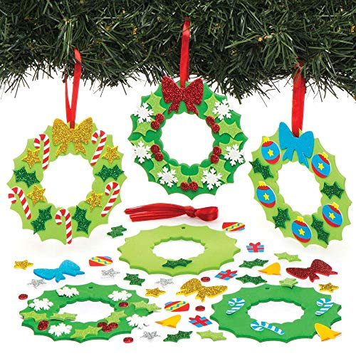 Baker Ross Kit de décorations couronnes de Noël à Assortir (Lot de6) - Loisirs créatifs et décorations de Noël pour Enfants
