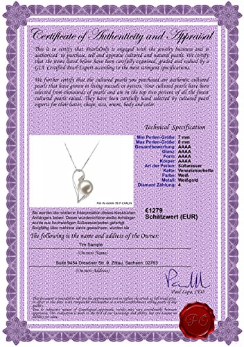 Rose 7-8mm AAAA-qualité perles d'eau douce 585/1000 Or Blanc-pendentif en perles Blanc