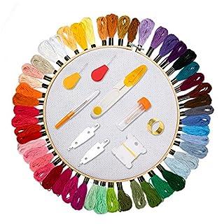 [99PCS Kit Stickerei Kreuzstich] Aimego 50PCS Stickgarn Mehrfarbigen 1 Kreuzstich Reifen 1 Stoff Bestickt mit 47PCS Tools Zubehör für Kreuzstich Stricken