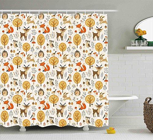 chvorhang, Kinder Kinderzimmer Dekoration Baby Eulen Hirsche Vögel Kaninchen Blume Bild Stoff Badezimmer Dekor Set mit Haken, Ringelblume ()