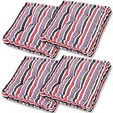 Gräfenstayn® 4er-Set Sitzkissen Stuhlkissen 40x40x8cm für Indoor und Outdoor aus 100% Baumwolle Dicke Polsterung Steppkissen/Bodenkissen (Blau/Rot)