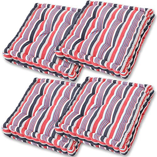 Gräfenstayn® Set de 4 Coussins d'Assise Coussins de Chaise 40x40x9cm pour intérieur et extérieur - 100% Coton - Différents Coloris – Rembourrage épais (Bleu/Rouge)