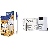Bic Cristal Original Punta Media 1 mm Confezione 50 Penne Colore Blu & AmazonBasics Carta da stampa multiuso A4 80gsm…