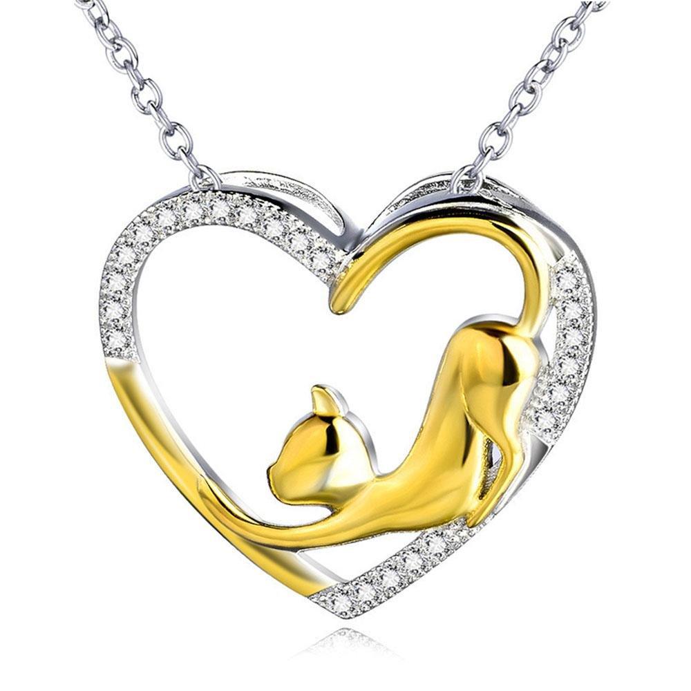 Collana in Argento S925 Collana Gatto con Ciondolo A forma di cuore Gioielli Regalo di San Valentino