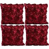 JOTOM Einfarbig Rose Kissenbezug,Seide Satins Kissenbezüge für Home Couch Sofa Dekorative, 40x40 cm, 4er Set (Weinrot)