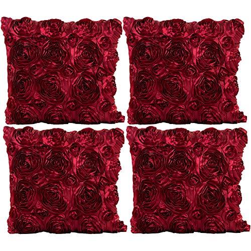 Jotom rosa federa per cuscino in tinta unita, sete satinato fodera per cuscini per divano casa decorativo, 40x40cm, set di 4 (vino rosso)