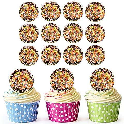 Rétro Bonbons 24personnalisé comestible pour cupcakes/décorations de gâteau d'anniversaire–Facile prédécoupée