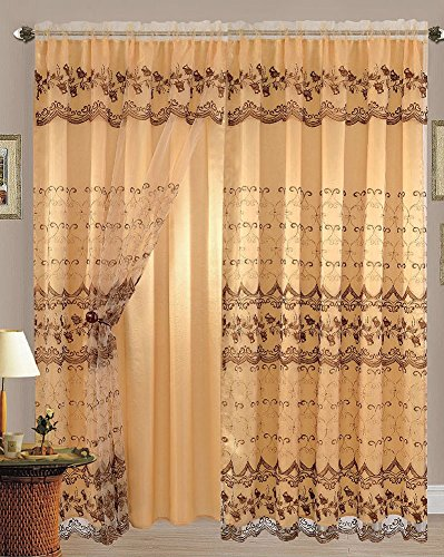 Aliya Embroidered Panel With Attached Valance And Backing, Gold-Brown, 55x84 Inches -