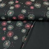 French Terry Stoff Pusteblumen dunkel marine 160 cm breit Modestoffe Sweat - Preis gilt für 0,5 Meter -