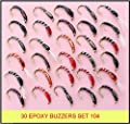 30 mixed EPOXY BUZZERS trout fly fishing flies UK SET 104-HB from BryTec