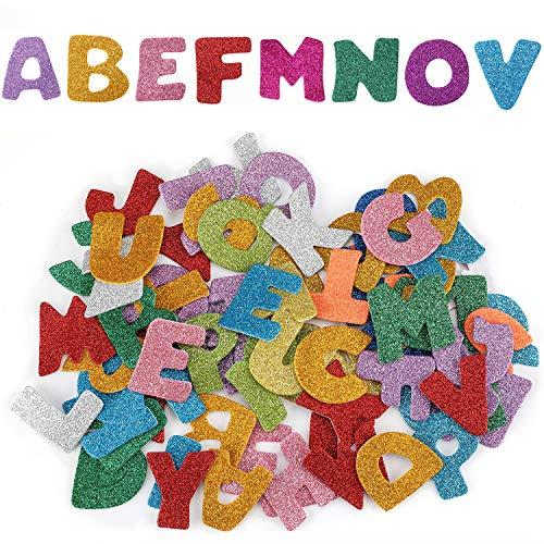 Hifot Glitter Schaumstoff Aufkleber Selbstklebende sortierte Formen und Farben Mehrfachauswahl-Handwerks-Schaum-Aufkleber für Kunst-5 Sätze der Kinder - Buchstaben und Zahlen