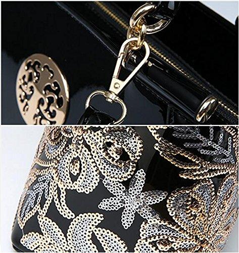 OUMIZHI® Frauen Beutel Sequin Ketten Luxus Leder Handtasche Tasche Burgund Schwarz