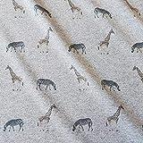 Stoff Baumwolle Sweatshirt grau meliert Zebra Giraffe Terry