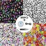 Langtor acrilici Lettera dell' Alfabeto A-Z Cube Beads con 1 Forbici 1 Cordino Nero e 1 Filo di Seta per Gioielli Bambini Fai da Te Collana Bracciale (1)