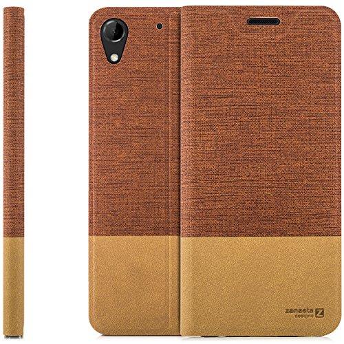 zanasta Designs Tasche HTC Desire 728G Dual SIM, Hülle Flip Case Slim Schutzhülle Handytasche mit Kartenfach, Standfunktion | Rotbraun