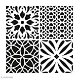 Artemio Fliese Zement Blumen Schablone Home Deko, Kunststoff, mehrfarbig, 30,5x 0,2x 35cm