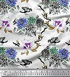 Soimoi Lila Seide Stoff Vogel, Blätter und Dahlie Blume