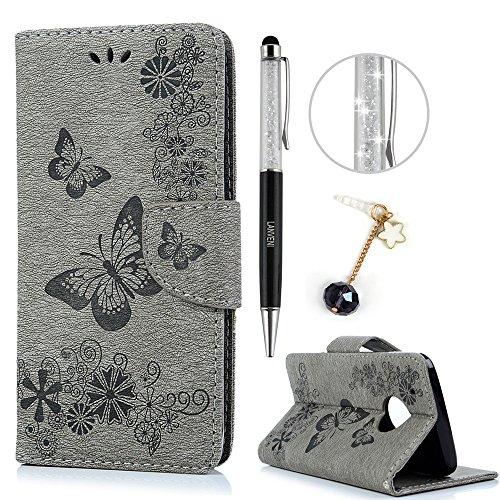 Lanveni Motorola Moto G5 Plus Hülle, Handyhülle für Motorola Moto G5 Plus PU Flip Cover Magnetverschluss Ledertasche mit Standfunction Brieftasche mit Schmetterling Cover Design (Grau)