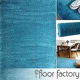 floor factory Moderner Teppich Kolibri türkis/blau 140x200cm - farbenfroher, Pflegeleichter Teppich mit kurzem Flor