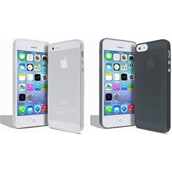 TCA 0.3mm Ultrathin Frosted Matte TPU Case Cover for iPhone 5/ 5S - Clear & Black (Pack Of 2)