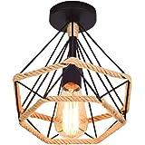 Lampe de Plafond rétro vintage Plafonnier Industrielle Cage en forme Diamant en Métal avec corde de chanvre Fer Lustre Suspen