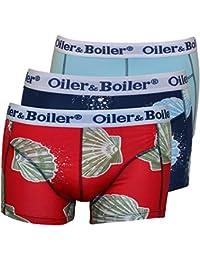 Oiler & Boiler 3-Pack Sea Shells Men's Boxer Trunks, Navy/Blue/Red