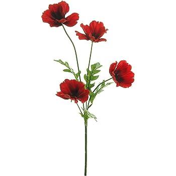 Set Of 2 Artificial Bright Red Poppy Silk Flower Sprays Poppies