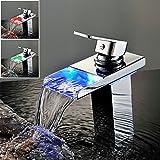 Horleora waschtischarmatur - LED mischbatterie mit 3 Farbewechsel für Bad Waschbecken - Chrom