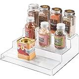 iDesign rangement cuisine, petite étagère de rangement à 3 niveaux en plastique, étagère à épices pratique pour épices et ing