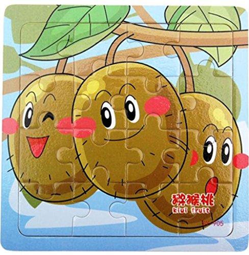 Sun Hero Puzzles éducatifs Puzzle Mignon de Fruits en Bois de Bande dessinée tôt Jouet Fantastique Cadeaux pour Les Enfants (Kiwis)
