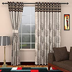 Homefab India Jute Modern Eyelet Polyester Window Curtain - 5ft, Brown