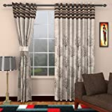 Homefab India Jute Modern 4 Piece Eyelet Polyester Window Curtain Set - 5ft, Brown