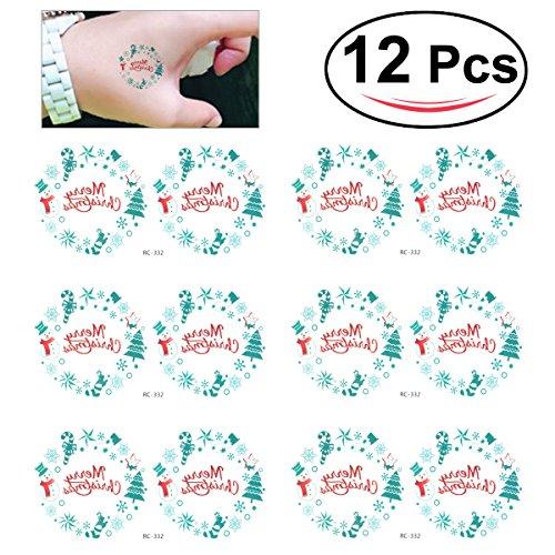 Oulii tatuaggi tattoo temporanei impermeabile per bambini con figurine di natale colorati (12pcs)