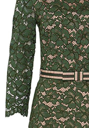 HALLHUBER Robe en dentelle avec doublure contrastée bladgroen