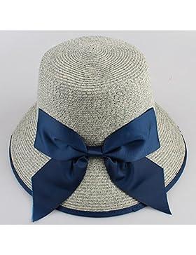 LVLIDAN Sombrero para el sol del verano Lady Anti-Sol Playa gris Sombrero de Paja plegable