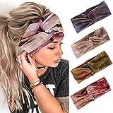 Edary Boho Yoga Tie-Dye Hoofdbanden Geknoopt Haarbanden Tulband Criss Cross Twisted HeadWrap Elastische Sport Hoofddoek Runni