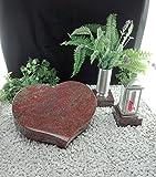 Grabstein Herz 50x40x10cm mit Grablaterne und Grabvase auf Sockel Material: Romantik Red
