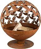 Rivanto® Feuerball mit Vogelmotiv, Ø58,8 x 56 x 64,3 cm, Carbonstahl lasergeschnitten, Feuerschale, attraktive Gartendekoration, Lagerfeuer, Rostoptik