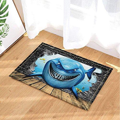 BuEnn Squalo Pappe mit Einem überraschenden Lächeln und schmalen Zähnen Badteppich, Rutschfeste...