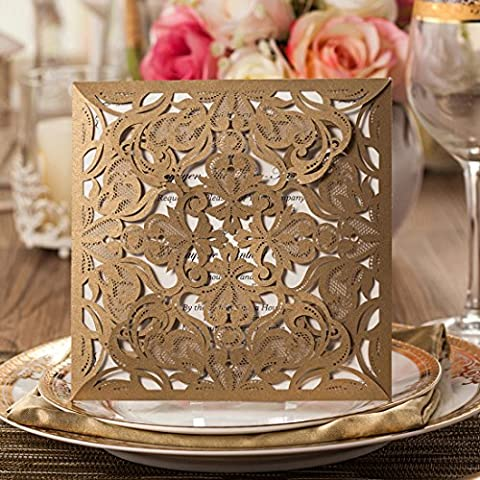 Wishmade Wedding Invitations Cards Kits 50X Gold Laser Cut for Engagement Birthday Party Graduation